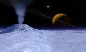 """En konstnärs bild av ytan på Enceladus, med de """"heta"""" sprickorna på sydpolen. Cassini och Saturnus i bakgrunden."""