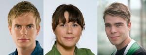 Miljöpartister med ovanliga efternamn. Fridolin, Romson, och Wallner.