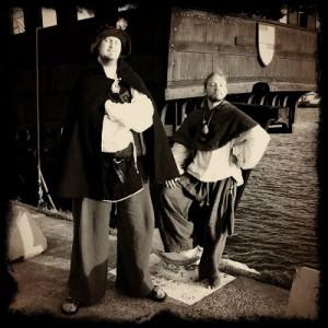 Arvid och jag vid koggen i Visby hamn.