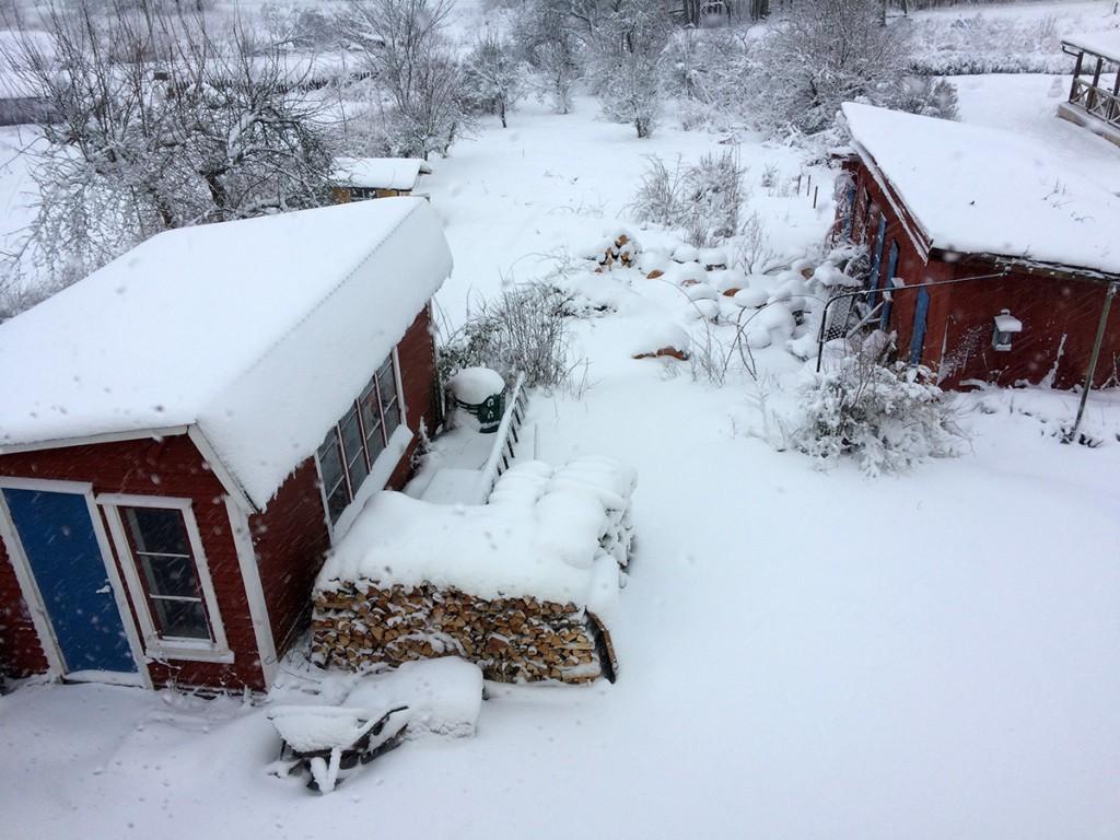 Jättemycket snö när vi tittade ut genom fönstret