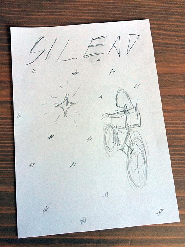 """Utkastet som sedan skulle bli framsida, när boken fortfarande hade arbetsnamnet """"Gilead""""."""