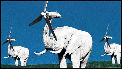 Elefanter och vindkraftverk